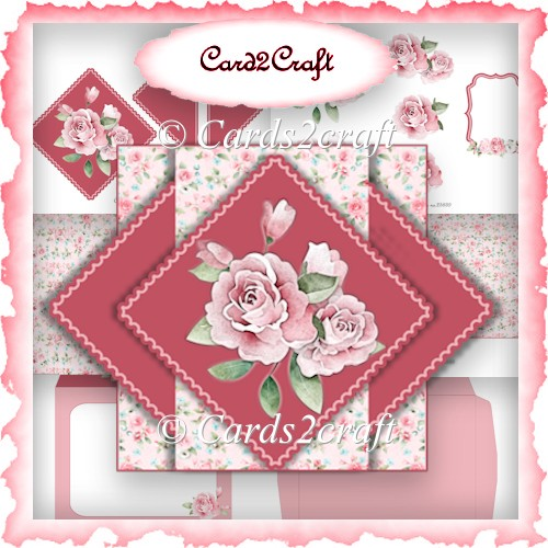 Pink rose pop up triangle card set - Click Image to Close