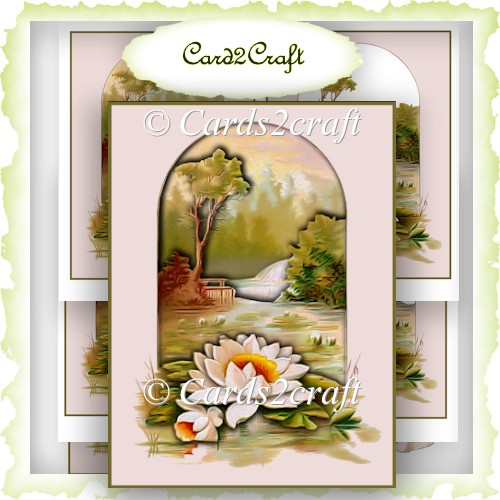 Water lily Tunnel card topper - Click Image to Close