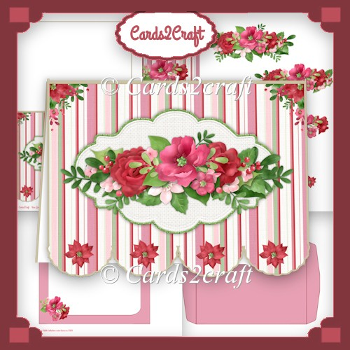 Festive flowers fancy bottom card set - Click Image to Close
