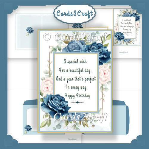 Birthday Blue rose card set - Click Image to Close
