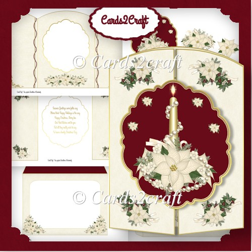 Poinsettia and candle gatefold card set - Click Image to Close